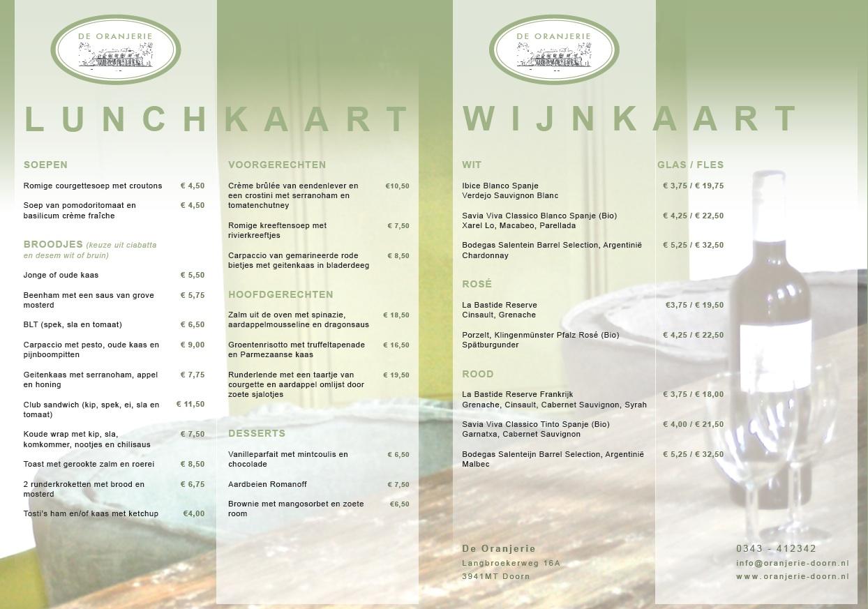 Lunchkaart De Oranjerie